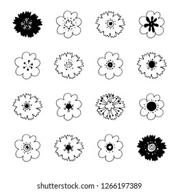 Stock vector collection of flower icons.  Black and white. Isolated and hand drawn vector illustration. Floral design. Set of abstract flowers. Day of the dead collection. Doodle drawings.