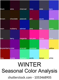 Stock vector color guide with color names. Seasonal color analysis palette for winter type. Type of female appearance