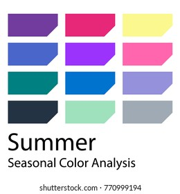 Stock vector color guide. Seasonal color analysis palette for summer  type. Type of female appearance