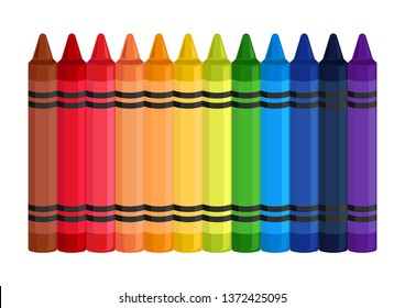 stock vector colorful wax crayons on white background