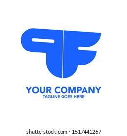 stock vector creative PF letter abstract logo icon design template for business corporate. minimalistic concept logo design.