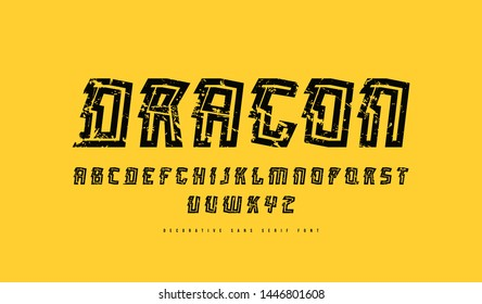 Stock vector decorative sans serif font. Letters and numbers with vintage texture for sport, movie emblem and logo design in oriental style. Black print on yellow background