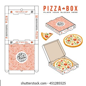 Stock vector design of boxes for pizza. Unwrapped box with layout elements and 3d presentation