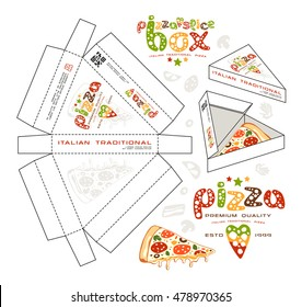 Stock vector design of boxes for pizza slice. Unwrapped box with layout elements and 3d presentation