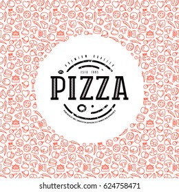 Stock vector design cover for pizza boxes. Label and frame with pattern in thin line style. Color print on white background