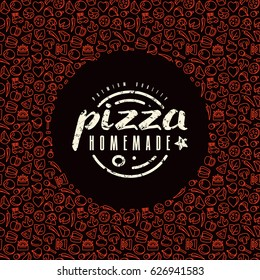 Stock vector design cover for pizza boxes. Label and frame with pattern in thin line style. Color print on black background