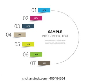 stock vector diagram circle for statistics steps / infographic half circle 7 options