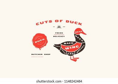 Stock vector duck cuts diagram in flat style. Color print on white background