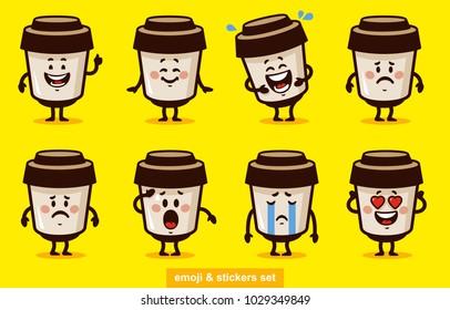 stock vector emoji coffee set cartoon set coffee smile