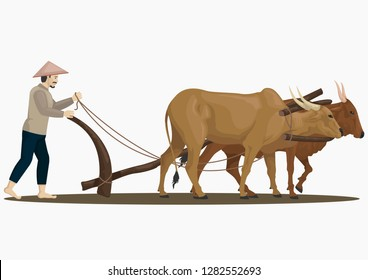 stock vector of farmers plowing with oxen graphic object illustration isolated on the white background