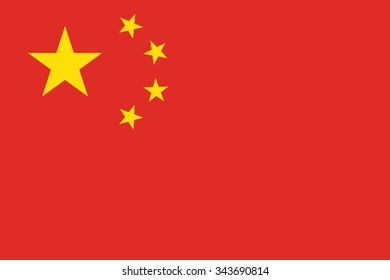 Stock Vector Flag of China - Proper Dimensions