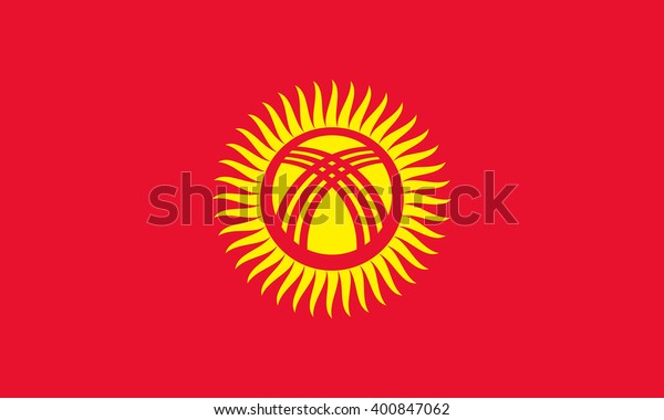 Stock Vector Flag of Kyrgyzstan - Proper Dimensions