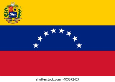 Stock Vector Flag of Venezuela with coat of arms - Proper Dimensions
