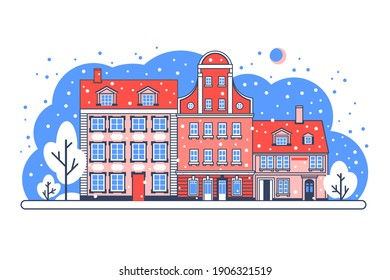 Stock vector flat Illustration. Historical buildings in winter. Colorful old town. Travel landmark. Stylized flat illustration of an old European city.