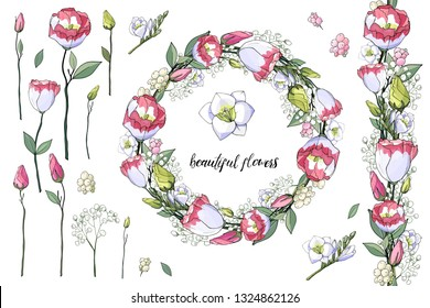 5f132a5ec02d Stock vector floral set of seamless flower brush from pink eustomas and  beautiful wreath. Isolated