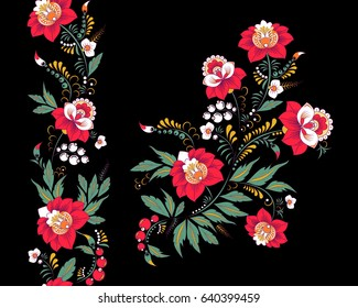 stock vector flowers and leaf ornament. oriental or russian pattern.necklace embroidery design and seamless border