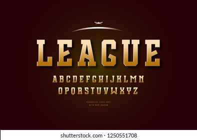 Stock vector golden colored slab serif font, alphabet, typeface. Letters for college sport team logo design