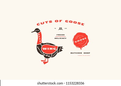 Stock vector goose cuts diagram in flat style. Color print on white background