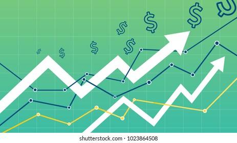 Stock vector graph money represent profit of business