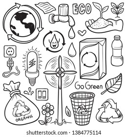 stock of vector hand drawn recycle eco friendly isolated doodle in white background