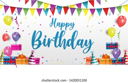 stock vector happy birthday typography-vector design for-greeting cards and poster banner with balloon