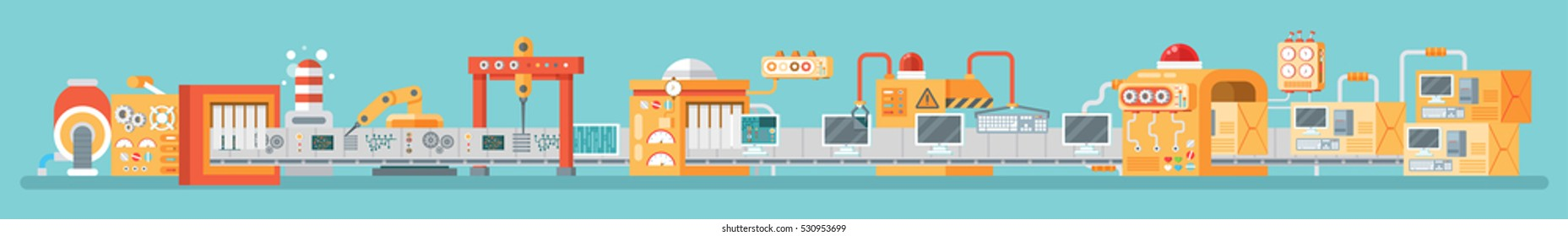 Stock vector horizontal illustration of conveyor assembly and packaging, production of personal computers in flat style on blue background for banners, websites, printed materials, info graphics