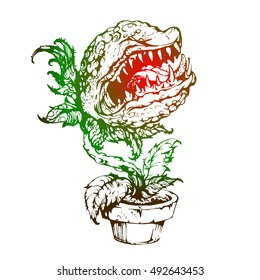stock vector hungry evil carnivorous plant in pot