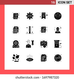 Stock Vector Icon Pack of 16 Line Signs and Symbols for strength; mineral; development; calcium; tag Editable Vector Design Elements
