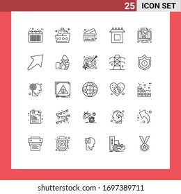 Stock Vector Icon Pack of 25 Line Signs and Symbols for coaching; setup; ship; install; credit Editable Vector Design Elements