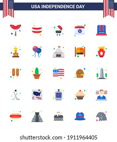 Stock Vector Icon Pack of American Day 25 Flat Signs and Symbols for bloon; award; date; achievement; american Editable USA Day Vector Design Elements