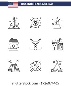 Stock Vector Icon Pack of American Day 9 Line Signs and Symbols for sport; hokey; achievement; usa; drink Editable USA Day Vector Design Elements