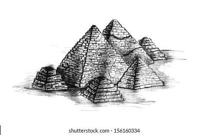 Stock vector illustration of ancient egypt pyramid in hand drawn sketch style