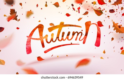 Stock vector illustration Autumn falling leaves. Autumnal foliage fall and poplar leaf flying in wind motion blur. Autumn design. Templates for placards, banners, flyers, presentations, reports.