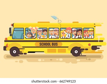 Stock vector illustration back to school cartoon characters schoolboy schoolgirls, pupils apprentices children riding bus for tour training excursion travel journey yellow background flat style