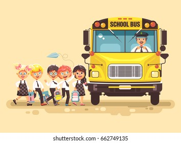 Stock vector illustration back to school cartoon characters schoolboy schoolgirls pupils apprentices cute cheerful children at stop go board bus with driver on yellow background flat style