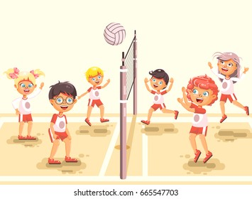 Stock vector illustration back to sport school children character schoolgirl schoolboy pupil classmates team game playing volleyball ball at physical education class sandy beach background flat style