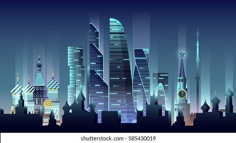 Stock vector illustration background city night neon style architecture buildings and monuments town country travel printed materials, Russia Moscow, Russian culture, landscape, Kremlin, capital