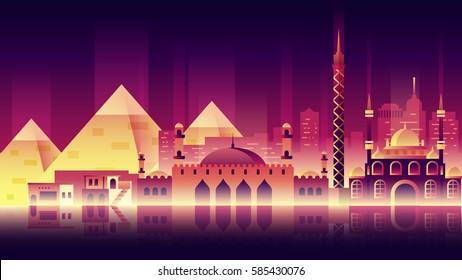 Stock vector illustration background city night neon style architecture buildings and monuments town country travel Egypt, Egyptian pyramids, Sphinx, Cairo, Egyptian Culture, deserts neon style