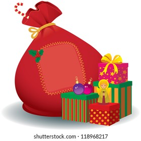 Stock vector illustration of a bag and a box of Christmas gifts