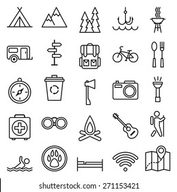 Stock vector illustration big set linear icon camping and tourism/Big set linear icon camping and tourism/Stock vector illustration