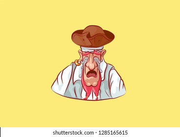 Stock vector illustration cartoon character pirate sea robber filibuster emoji sticker seaman captain sailor mascot crying weep sob blub tears streaming emotion emoticon isolate yellow background