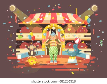 Stock vector illustration cartoon character lonely clown juggles balls, performance in interior of empty circus, show on arena, perform trained monkey, seal, sea calf, sea dog animal in flat style