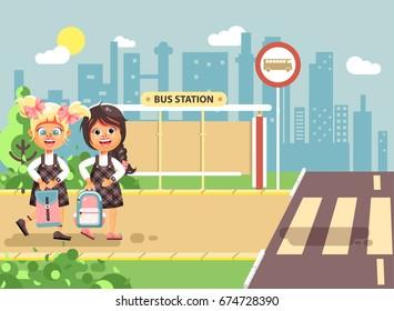 Stock vector illustration cartoon characters children, traffic rules, two blonde and brunette girls schoolchildren, pupils go to road pedestrian crossing