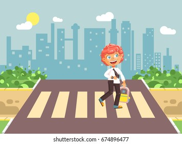 Stock vector illustration cartoon characters child, observance traffic rules, lonely redhead boy schoolchild, pupil go to road pedestrian crossing, on city background, back to school in flat style