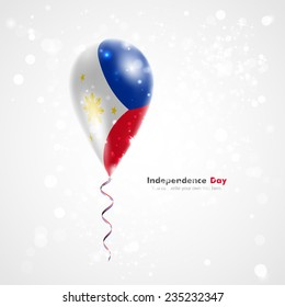 Stock vector illustration celebration and gifts. Ribbon in the colors are twisted under the balloon. Independence. Balloons on the feast of the national day. The flag of Philippines