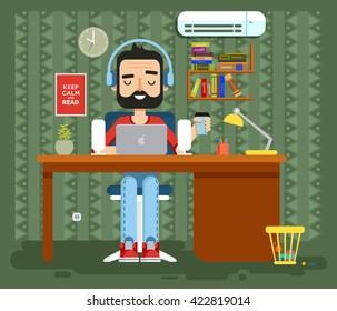 Stock vector illustration of character programmer, copywriter, gamer, freelancer, designer, man in headphones with beard at home, computer flat style element info graphic, website, game, motion design