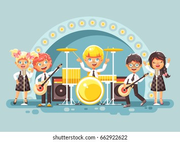 Stock vector illustration children's music band musical group characters schoolboy schoolgirl pupils apprentices play guitars drums sing solo microphone back vocals rock concert on stage in flat style