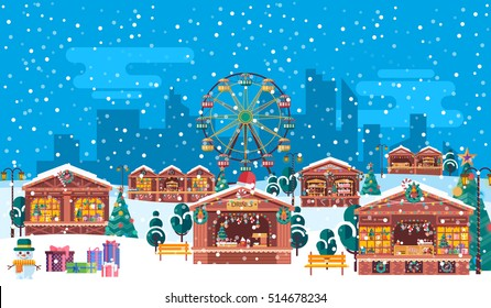 Stock vector illustration of Christmas fairs with sale of festive tinsel to celebrate happy new year, flat style on blue background silhouette of city high-rise buildings, snowflakes and Ferris wheel