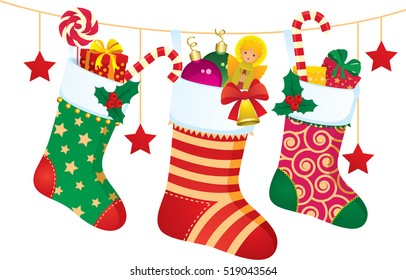 stock vector illustration of christmas socks with gifts and sweets - Christmas Socks Decoration