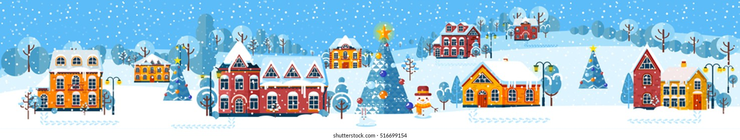 Stock vector illustration of Christmas winter day in a small town, suburb for background, postcard, website, info graphic, header,  congratulation, printed material, Happy New Year 2017